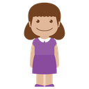 avatar, child, female, girl, kid, person, purple icon