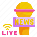 communication, information, live, microphone, news icon
