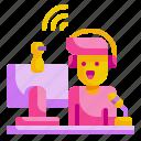 live, music, stream, streamer, vioce icon