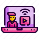 laptop, screen, streaming, video, computer icon