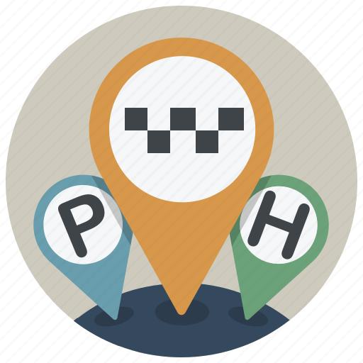 adress, gps, hotel, location, map, parking, taxi icon