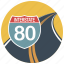 drive, interstate, location, map, navigation, road, traffic sign icon