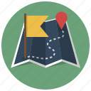 destination, finish, location, map, navigation, route, start icon
