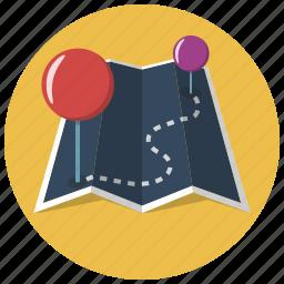 finish, map, markers, navigate, navigation, pins, start icon