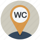 gps, location, map, navigation, pin, toilets, wc icon