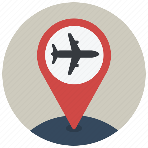 airplane, airport, location, map, navigation, pin, plane icon