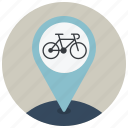 bike, drive, location, map, navigation, pin, point icon