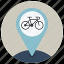bike, drive, location, map, navigation, pin, point icon