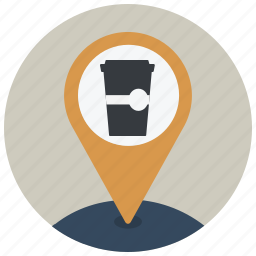coffee, coffee shop, location, map, navigation, pin, poi icon