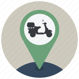 drive, location, map, navigation, pin, pointer, scooter icon