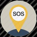gps, help, location, map, navigation, pin, sos icon