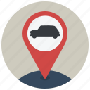 car, location, map, navigate, navigation, pin, transport icon