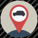 car, location, map, navigate, navigation, pin, transport icon