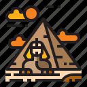 desert, location, pyramid, sphinx