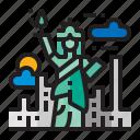 liberty, building, statue, landmark