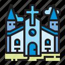 building, christian, church, location icon