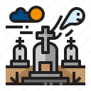 building, ghost, graveyard, location icon