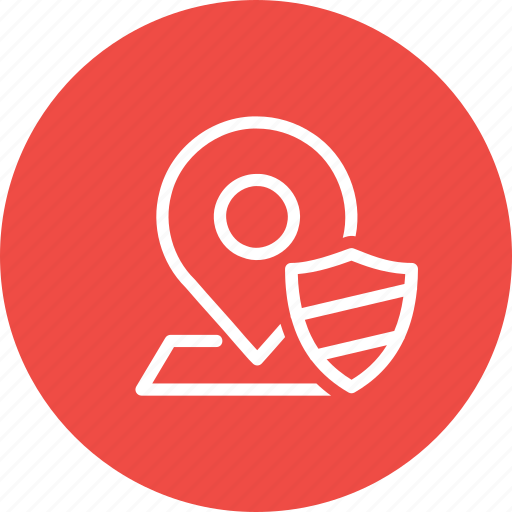 Location, map, navigation, pin, place, security, shield icon - Download on Iconfinder