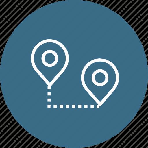 destination, location, map, path, pin, start, way icon