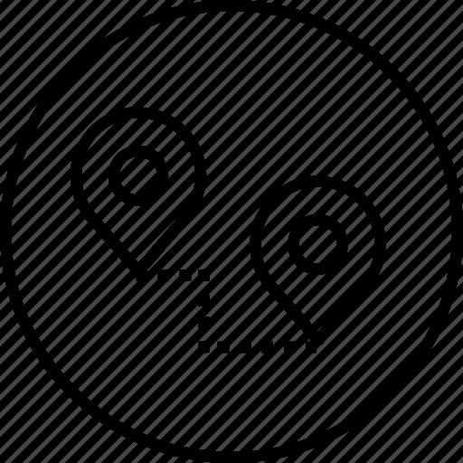 Destination, location, map, path, pin, start, way icon - Download on Iconfinder