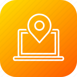 gps, internet, laptop, online, pin, web icon