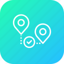 map, pin, verify, location, way, path, approve icon