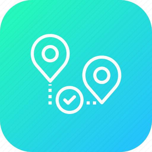 approve, location, map, path, pin, verify, way icon