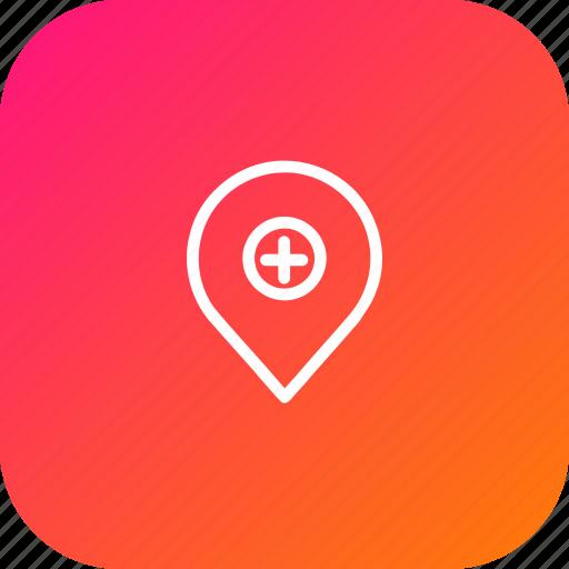 add, insert, location, map, marker, navigation, pin icon