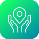 caring, map, secure, pin, hand, location, navigation icon