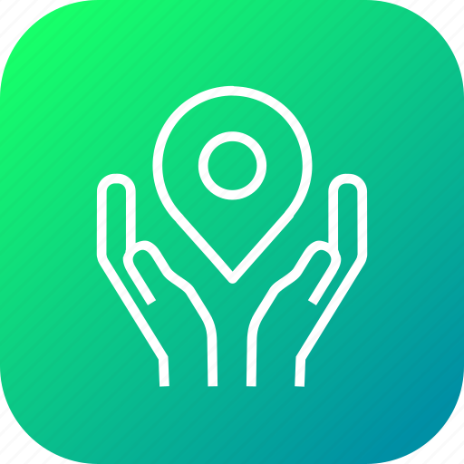 caring, hand, location, map, navigation, pin, secure icon