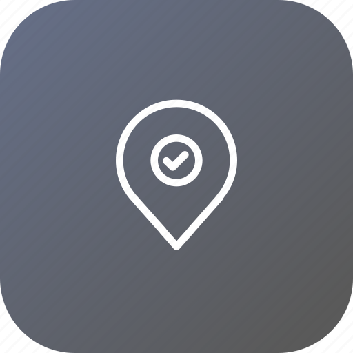 location, map, navigation, pin, right, true, verify icon