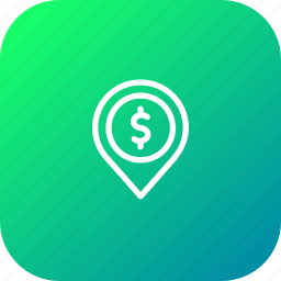 currency, dollar, finance, location, money, pin, tag icon
