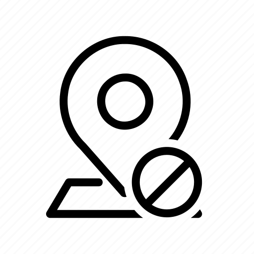 cancel, denied, gps, location, map, navigation, pin icon