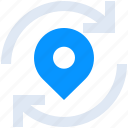 find, location, marker, pin, refresh, search icon