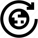 arrow, earth, globe, planet, refresh, update, world icon