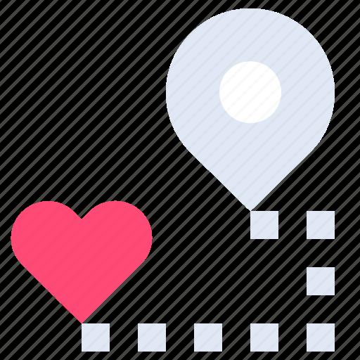 favorite, heart, location, map, pin, romance, sentiments icon