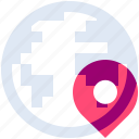 earth, globe, location, pin, planet, pointer, world icon