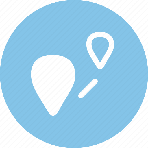 distance, location, navigation, route icon