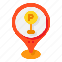 parking, lot, map, pin, location