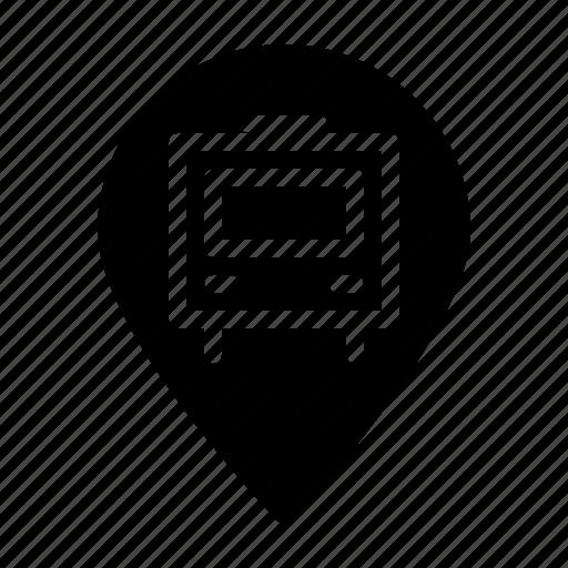 agency, bus, estate, location, real, stop icon