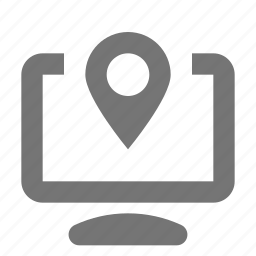 computer, location, map, marker, navigation, pointer icon