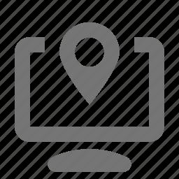 computer, location icon