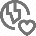 favorite, globe, heart, like, location icon