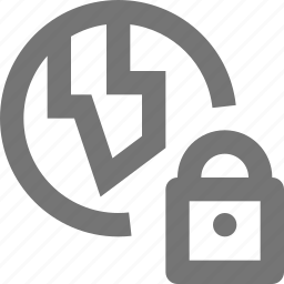 globe, location, lock, security icon