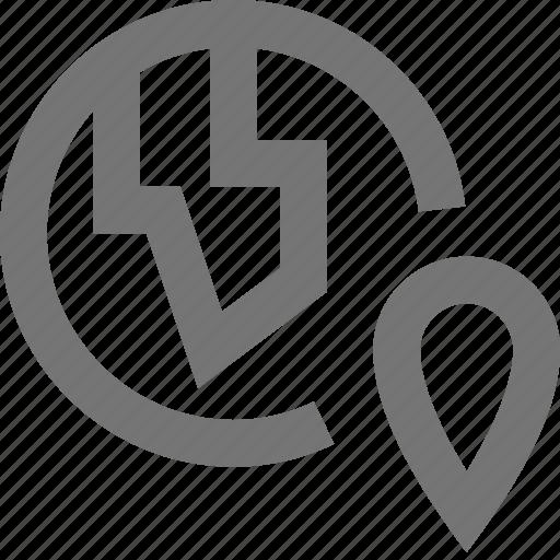 globe, location, map, marker, navigation, pin, pointer icon