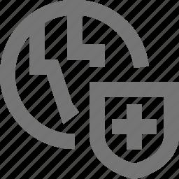 globe, location, security, shield icon