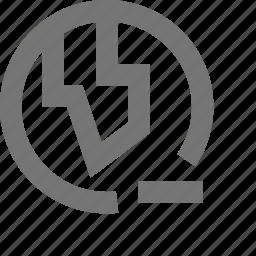 globe, location, minimize, minus, remove icon