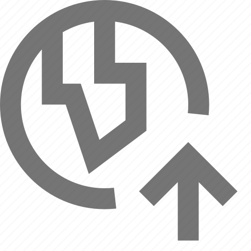 arrow, globe, location, up, upload icon