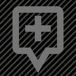 add, location, new, pin, plus icon