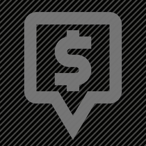bank, dollar, location, marker, money, navigation, pin, pointer icon